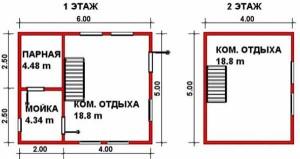 Планировка 1.5 этажной бани Баня-Дом-2 5 на 6 м