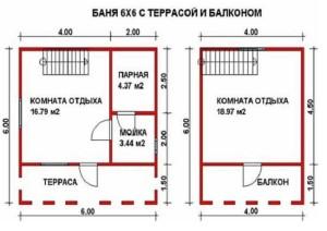 Планировка этажей бани 6х6