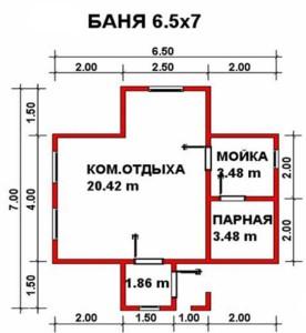 Планировка бани Иволга 6,5x7 м с крыльцом