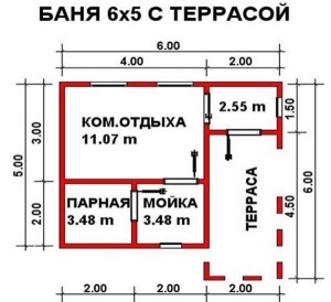 Планировка бани Кладезь 6х6 м с террасой