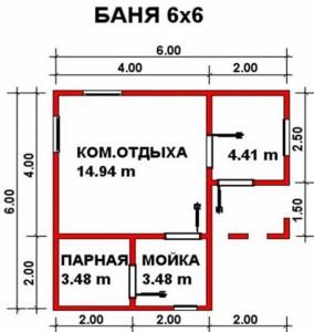 Планировка бани Мечта 6х6 м с 3-мя фронтонами и крыльцом