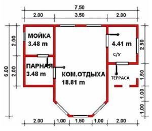 План бани Нептун 6х7,5 м с эркером