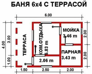 планировка бани Терра 4х6 м с террасой