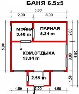 Планировка бани Юрта 5х6,5 м