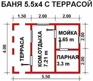 План бани Здоровье-2 4х5,5 м с террасой