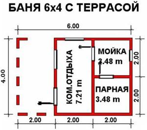 Схема бани Здоровье 4х6 м с террсой