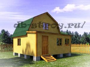 Проект деревянного дома 6 на 6 м ДБ-9 с верандой