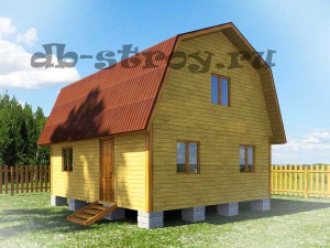 проект деревянного дома ДБ-10 6х7 метров