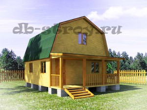 Проект деревянного дома дома ДБ-11 6 на 7,5 метров с террасой