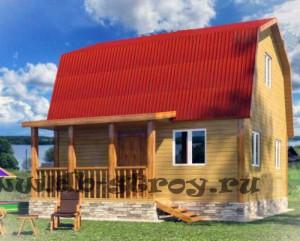 Модель дома 6 на 7,2 м с террасой по проекту ДБ-14
