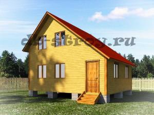Проект деревянного дома с косой крышей 6 на 7 м