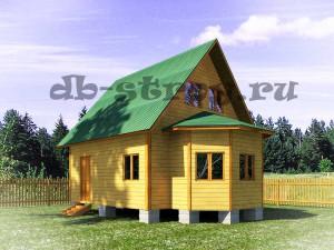проект дома из бруса, каркасного дома 6 на 8 м с эркером