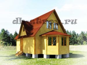 деревянный дом 6 на 8 с экрером по проекту ДБ-17