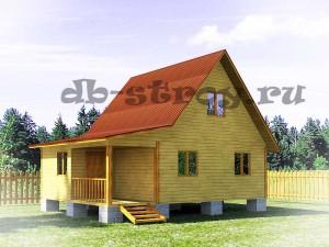 проект ДБ-20, дом 6х8 м с верандой и террасой
