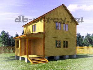 Проект дома в два этажа 6х8 м с террасой и верандой ДБ-24