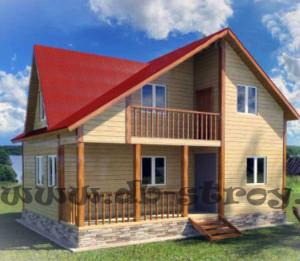 проект деревянного дома ДБ-28 6х8 м с 3-мя фронтонами