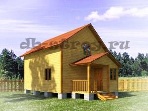 дом в 1,5 этажа с красивым крыльцом, проект ДБ-30 6х9 м