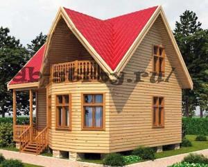 дом 7х7 с эркером и балконом