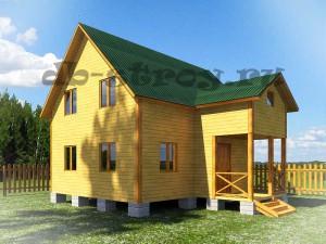 проект дома ДБ-48 8х9 с крыльцом-кукушкой