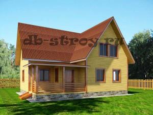 дом 8 на 10 с тремя фронтонами и террасой
