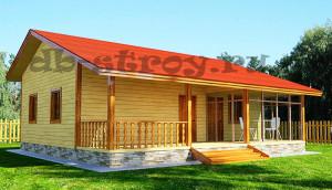 одноэтажный коттедж деревянный 9,6х10,2 м крытой террасой и зимним садом