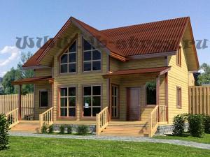 деревянный коттедж 7,3 на 10,3 метра в полтора этажа с двумя парадными крыльцами