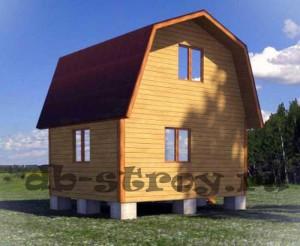 Садовый деревянный дом 4 на 5 метров с ломаной крышей