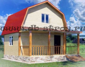 Деревянный дом 6х6 м с террасой, проект ДБ-5