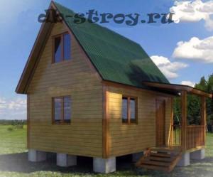 Дачный дом внешними границами 5 на 5 м (дом 4 на 5 + терраса 1 на 2,5 м