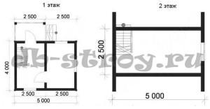 План-схема проекта дома ДБ-1 4х5 м
