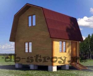 Проект дома ДБ-2 4 на 5 м с ломаной крышей вид со стороны входа