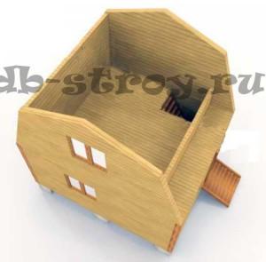 Модель дома по проекту ДБ-2 4х5 м: в разрезе 2-ой этаж