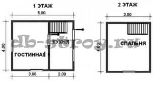 схема дома по проекту ДБ-2 4х5 м