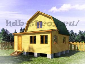 дачный дом 6 на 6 м метров с ломаной крышей и верандой