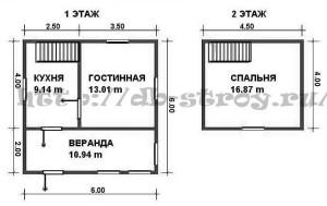 Планировка проекта ДБ-9 1 и мансардный этажи