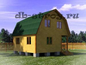 план дома ДБ-6 размерами 6 на 6 м вид сбоку
