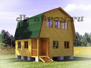 Деревянный дом 6 на 6 с внутренним крыльцом