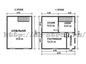 Планировка проекта ДБ-6, схема 1 этажа и мансардного