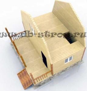 3д модель мансардного этажа дома с террасой