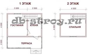 План дома по проекту ДБ-5 внешними границами 6 на 6 м с террасой