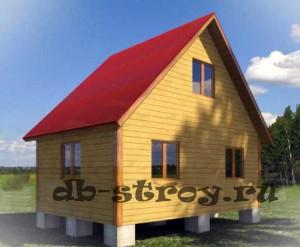 Деревянный дачный дом 4 на 6 м с мансардным этажом