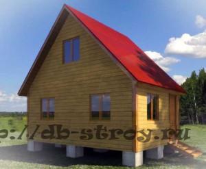 Прект деревянного дома 4 на 6 м вид сбоку