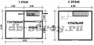 Планировка дома по проекту ДБ-3 4 на 6 м
