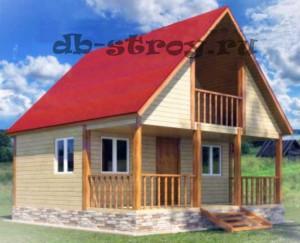 Дом по проекту ДБ-4 размерами 6 на 6 м с террасой и балконом