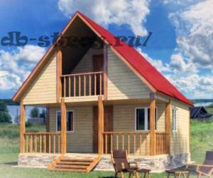 Деревянный дом с террасой и балконом 6х6 м