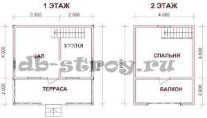План дома проекта ДБ-4 6х6 м