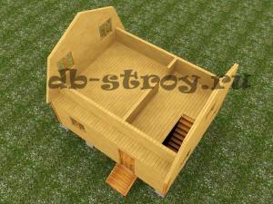 проект дома 4х6 м 3-д модель мансардного этажа