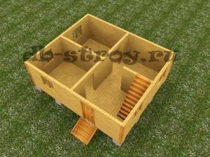 3d модель 1 этажа, проект ДБ-10 6х7 м