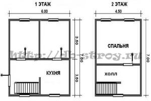 План схема деревянного дома, проект ДБ-10