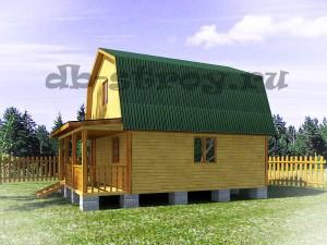 дом 6х7,5 м с ломаной крышей вид сбоку